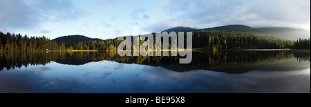 Lake Prebersee, morning, Lungau, Salzburg state, Salzburg, Austria, Europe - Stock Photo