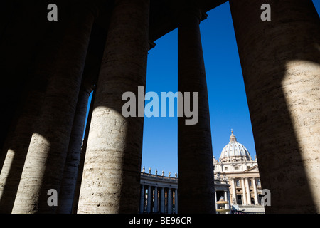 ITALY Lazio Rome Vatican City Facade of Basilica church of St Peter seen through Colonnades by Bernini in S Peter's Square