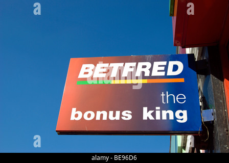 sign for betfred, the bonus king, at a branch of the bookmakers in twickenham, middlesex, england - Stock Photo