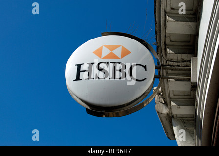 round sign for a local branch of hsbc bank, in twickenham, middlesex, england - Stock Photo