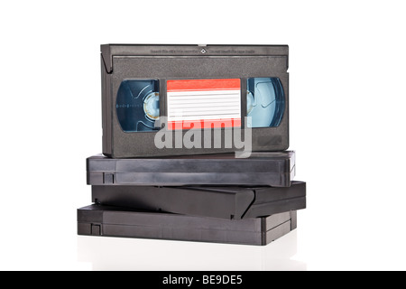 Old Video Cassette tapes isolated on white background - Stock Photo