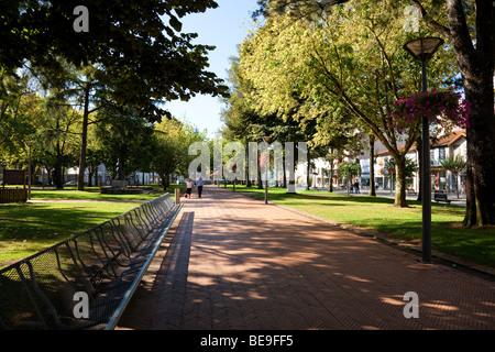 Park in Dona Maria II square in Vila Nova de Famalicão, Braga District, Minho, Portugal. - Stock Photo