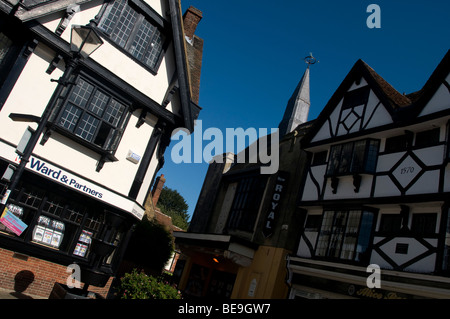 Faversham Town Kent england UK shops in the market place  - Stock Photo