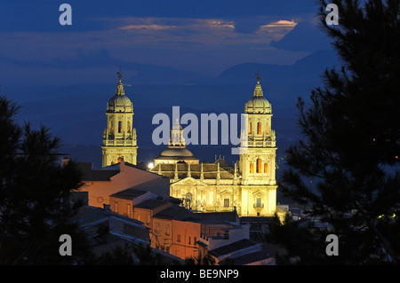 Cathedral at Dusk . Jaen. Andalusia. Spain. - Stock Photo