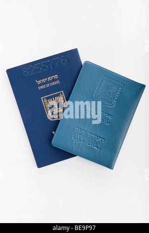 Cutout of an Israeli Identification card and Passport on white background - Stock Photo