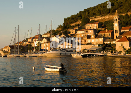 Croatia; Hrvartska; Kroatien, Central Croatia, Kut, charter sail and power yacht tied up at water front of old town - Stock Photo