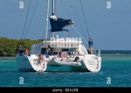 Lagoon catamaran ISLAND GIRL moored in Bahia de Almodovar, Isla de Culebra, PR - Stock Photo