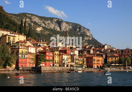 View of the harbour at Varenna seen from a ferry on Lake Como, Italy, Europe - Stock Photo