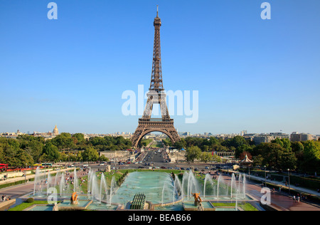 Eiffel Tower Paris and Trocadero Gardens, France - Stock Photo