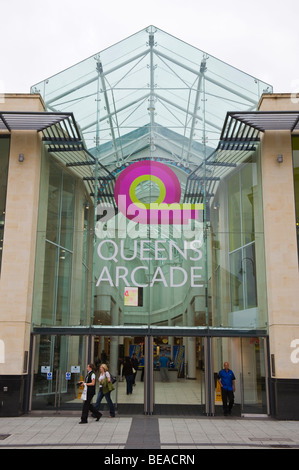 Exterior of Queens Arcade atrium in city centre of Cardiff South Wales UK - Stock Photo