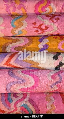 Tapestry woven silk luntaya. Burmese skirt cloth. Burma - Stock Photo