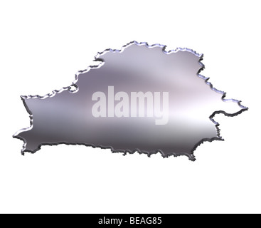 Belarus 3d silver map - Stock Photo