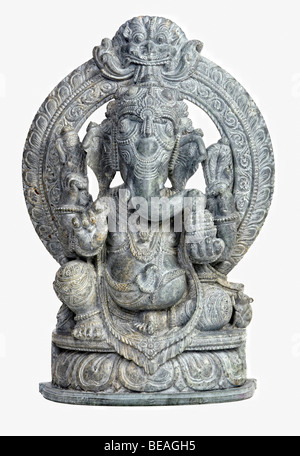 classi stone sculpture of indian god ganesh on white - Stock Photo