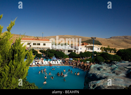 A water park just outside of Damascus on route to Beirut called Splash. Situated in a dry baron desert. - Stock Photo