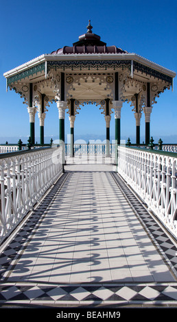 The Victorian bandstand on Brighton promenade. Built in 1884 and restored in 2009 - Stock Photo