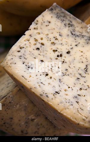 Teifi with nettles Welsh cheese UK - Stock Photo