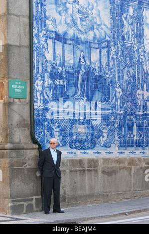 azulejos capela das almas de santa catarina porto portugal - Stock Photo