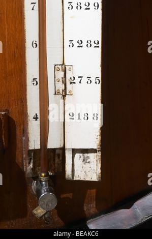 measuring tube on wooden vat sandeman port lodge vila nova de gaia porto portugal - Stock Photo