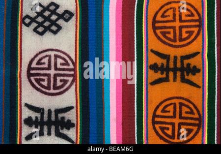 Tibetan woven woollen fabric. Tibet - Stock Photo
