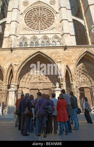 Santa Maria de Regla cathedral Plaza de Regla, Leon spain castile and leon - Stock Photo