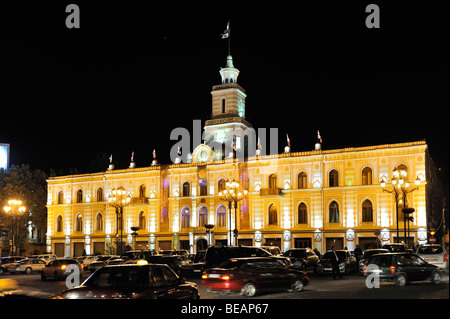 night shot of illuminated townhall or municipality of Tbilisi, Georgia - Stock Photo