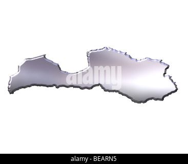 Latvia 3d silver map - Stock Photo