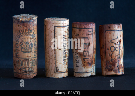 natural corks of different ages and lengths - Stock Photo