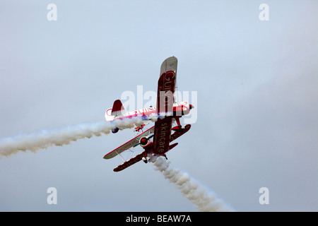 Bi plane display at Southport Airshow 2009, Southport, Merseyside UK - Stock Photo