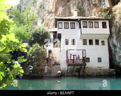 Bosnia and Herzegovina, Blagaj, 16th century Tekija, Dervish monastery on Buna river. About 15km southeast of Mostar. - Stock Photo