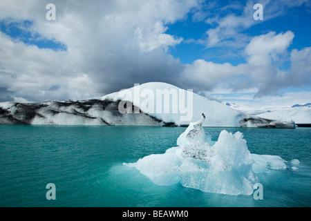 Icebergs calved from glacier float in Jokulsarlon lagoon, Iceland. - Stock Photo