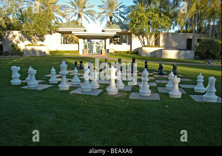 Oversize chess pieces on the lawn of the Arizona Biltmore Hotel in Phoenix, Arizona, USA - Stock Photo