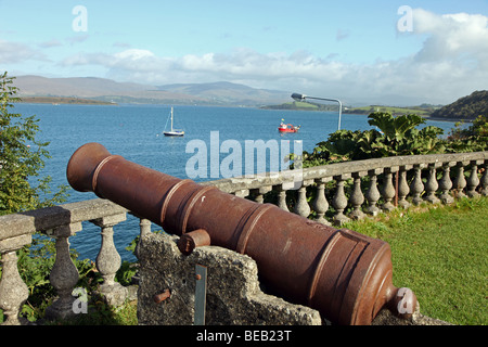 Bantry House cannon over Bantry Bay, West Cork, Ireland - Stock Photo