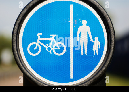 Cycle and pedestrian path sign - Stock Photo
