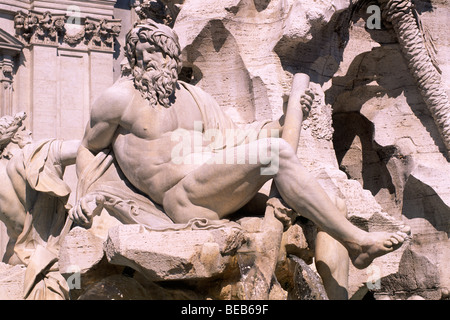 italy, rome, piazza navona, fountain of the four rivers, statue - Stock Photo