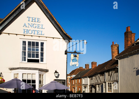 The Angel Hotel in the Market Place Lavenham Suffolk England - Stock Photo