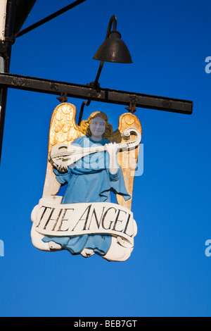 The Angel Hotel Sign Lavenham Suffolk England - Stock Photo