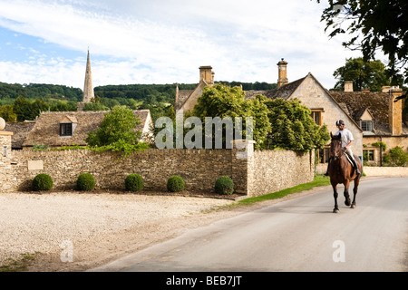 An evening ride along the lanes around the Cotswold village of Stanton, Gloucestershire - Stock Photo