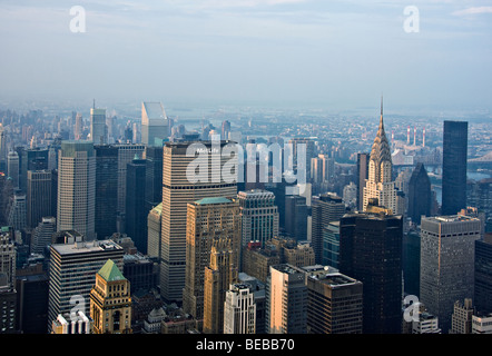 A view of 'Mid-town Manhattan' and the 'Chrysler Building' from the 'Empire State Building' in 'New York City,' - Stock Photo