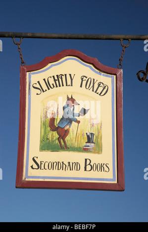 Slightly Foxed Secondhand Books Sign, Historic Precinct, Oamaru, North Otago, South Island, New Zealand - Stock Photo