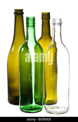 various empty wine bottles isolated on white - Stock Photo