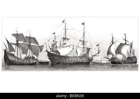 french vessel of the 16th century spanish ship of war soleil royal - Stock Photo