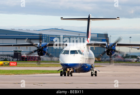 British Airways aircraft taxiing for take off from Manchester Airport (Ringway Airport) in Manchester, England - Stock Photo