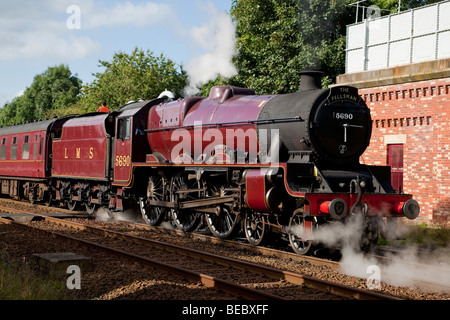 LMS Jubilee Class 5690 'Leander', hauling 'The Fellsman' steam special, in Cumbria - Stock Photo