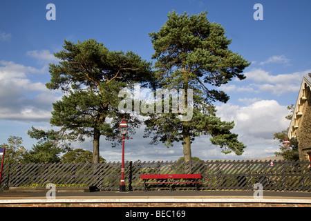 Platform at Kirkby Stephen railway station, on the Settle-Carlisle line, Cumbria, England, UK - Stock Photo