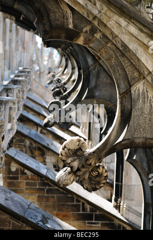 Detail of flying buttresses supporting the roof of Milan cathedral, Lombardy, Italy - Stock Photo