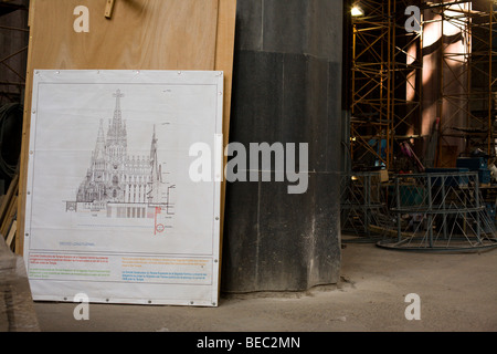 Inside Barcelona's Sagrada Familia - Stock Photo