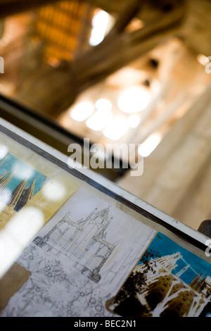 Inside Sagrada Familia in Barcelona - Stock Photo