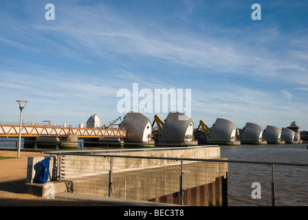 Thames Barrier in Woolwich on sunny day, London England UK - Stock Photo