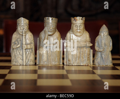 Some of the original Lewis chess men held in the national museum of Scotland. - Stock Photo