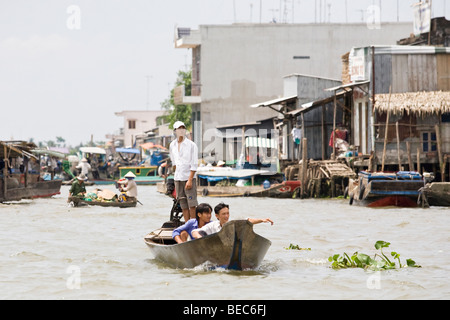 A boat on the Mekong Delta, Vietnam - Stock Photo